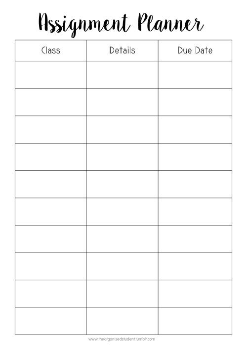 Student Weekly Planner Template Tumblr