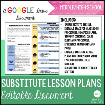 Sub Lesson Plan Template Fully Editable Substitute Lesson Plan Template On Google