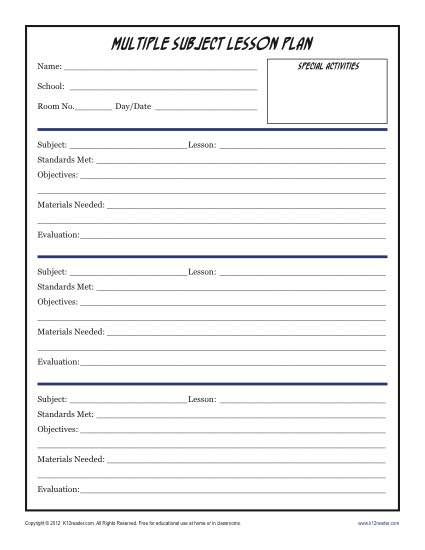 Sub Plans Template Daily Multi Subject Lesson Plan Template Elementary
