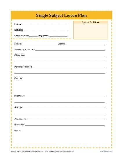 Sub Plans Template Daily Single Subject Lesson Plan Template Secondary
