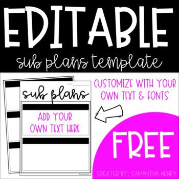 Sub Plans Template Free Editable Substitute Plans Template