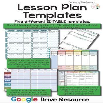 Sub Plans Template Lesson Plan Templates Multiple Editable Templates Google