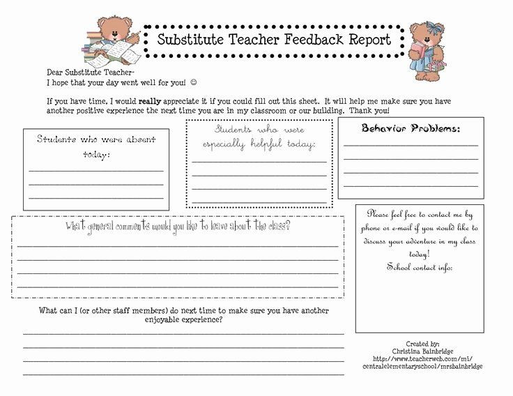 Substitute Lesson Plan Template Substitute Teacher Plan Template Unique Substitute Teacher