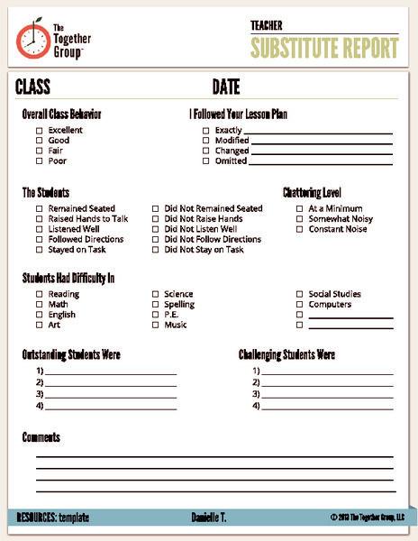 Substitute Teacher Lesson Plans Template Substitute Report Pre K 6th Grade Printables & Template
