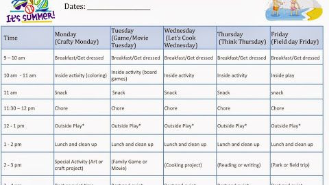 Summer Camp Lesson Plan Template Kids at Home Summer Camp Schedule Printable Template A