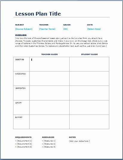 Sunday School Lesson Plan Template Teacher Daily Schedule Template Awesome Teacher Daily Lesson