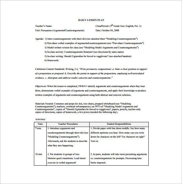 Swbat Lesson Plan Template 15 Free Pdf Word format Download