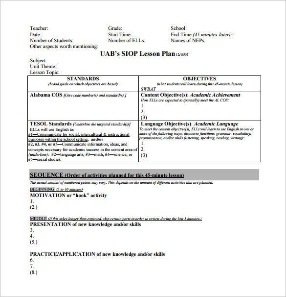 Swbat Lesson Plan Template Doc Excel Pdf Free & Premium Templates