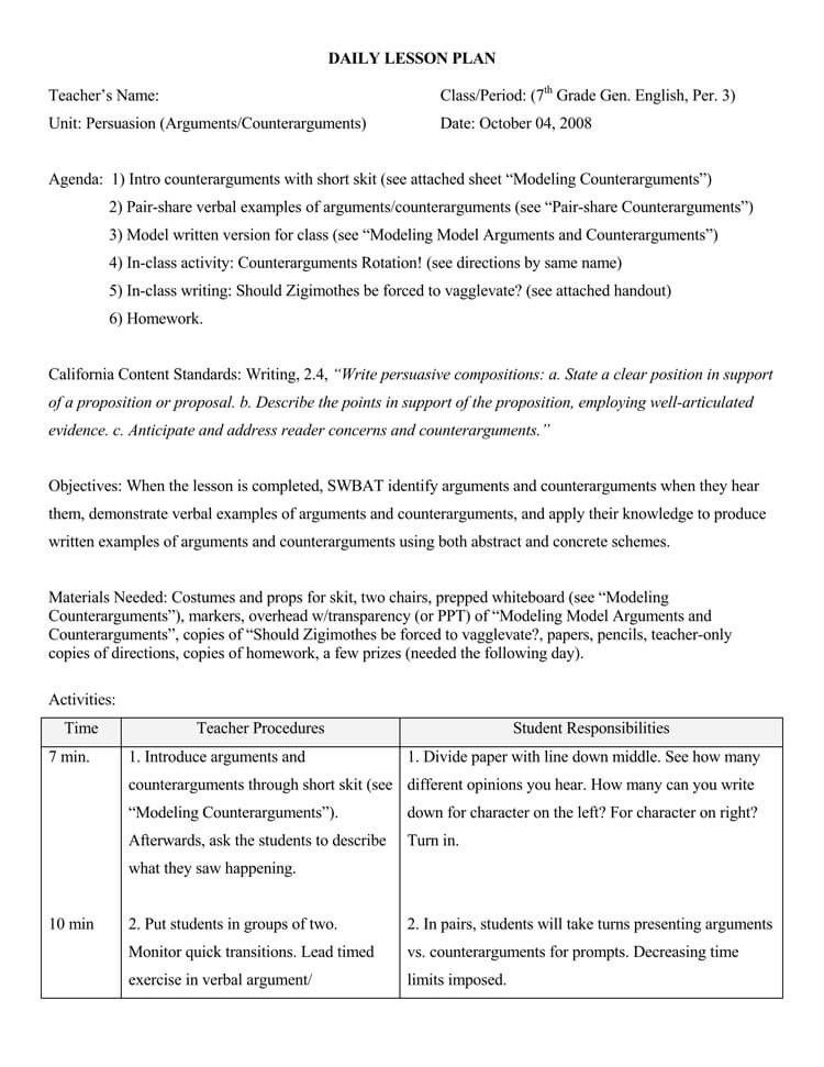 Swbat Lesson Plan Template Pin On Templates