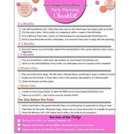 Sweet 16 Party Planning Template the Best Sweet 16 Party Planning Checklist is Yours for Free