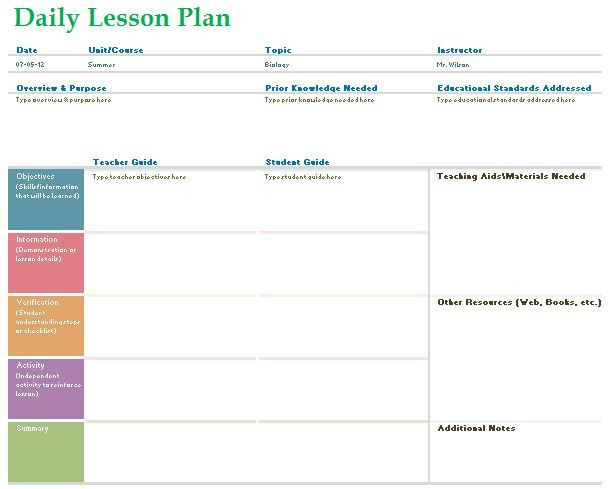 Teacher Daily Planner Template Teacher Daily Lesson 2 609—489
