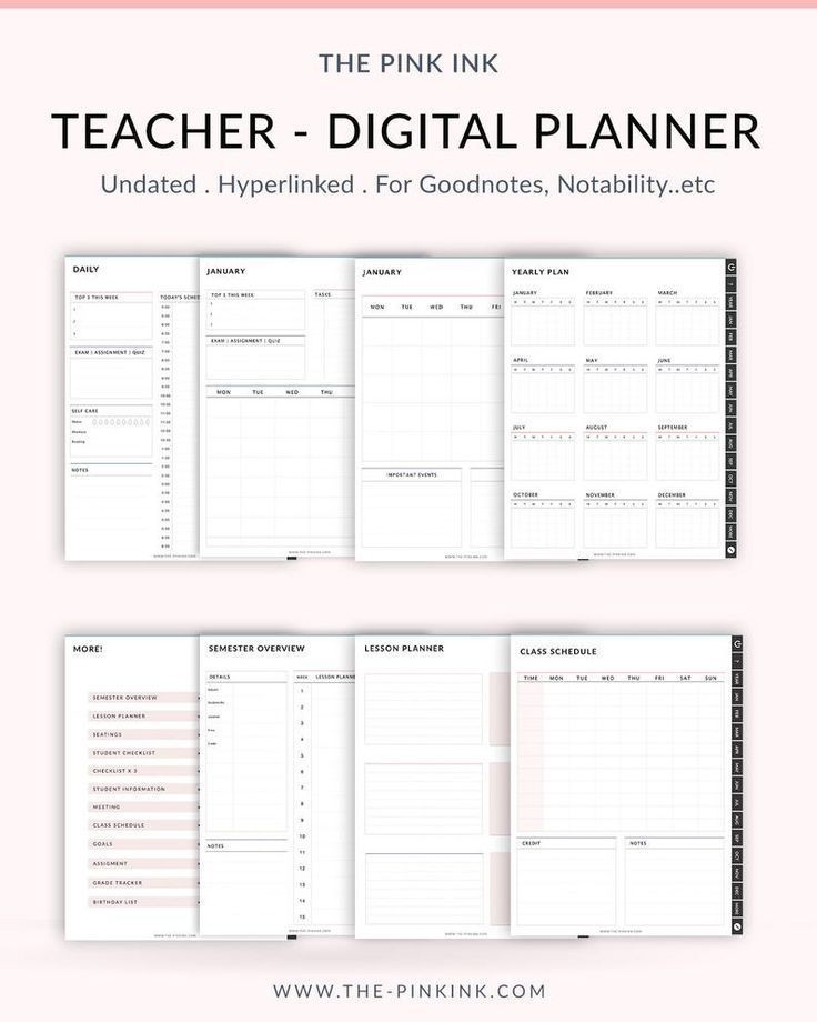 Teacher Daily Planner Template Undated Teacher Planner School Planner Lesson Planner
