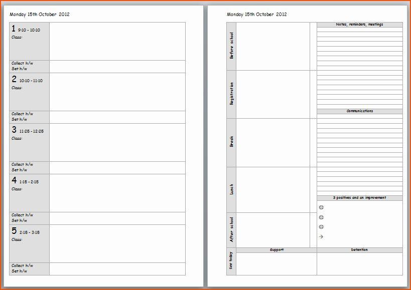 Teacher Day Plan Template Teacher Daily Schedule Template Beautiful Teacher Planner