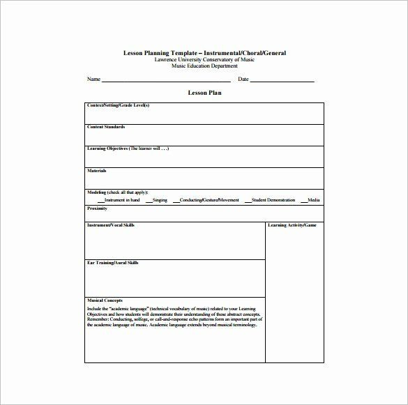 Teacher Lesson Plan Template Elementary Music Lesson Plan Template Beautiful Music Lesson