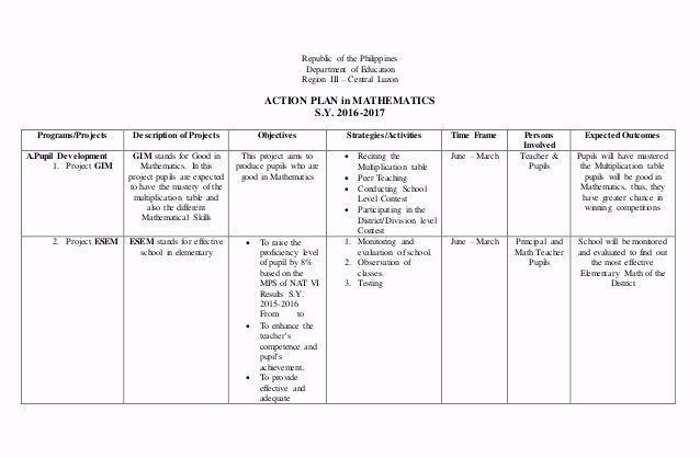 Teaching Action Plan Template Sample Action Plan for Teachers Elegant Action Plan In Math