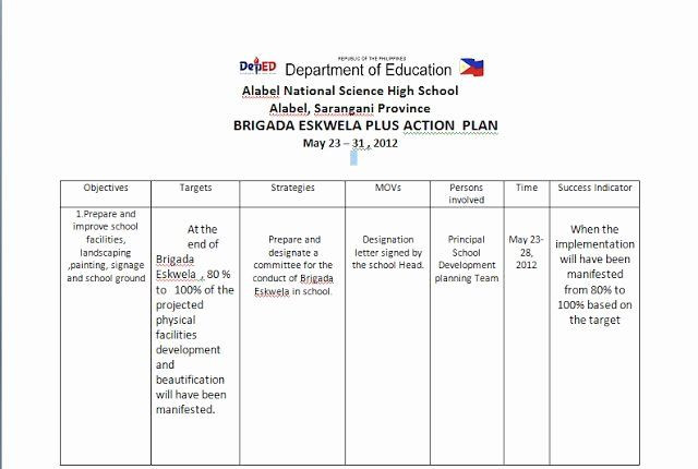 Teaching Action Plan Template Teaching Action Plan Template Fresh Brigada Eskwela Action