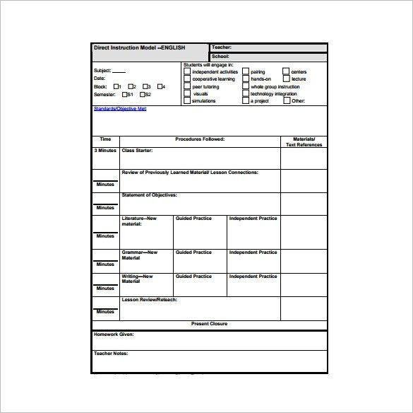 Teaching Lesson Plan Template Direct Instruction Google Search