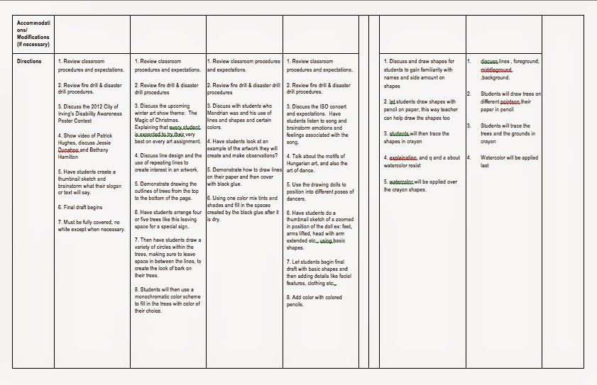 Teks Lesson Plan Template E to the Art Side