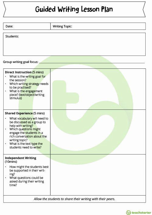 Teks Lesson Plan Template Teks Lesson Plan Template Beautiful Guided Writing Lesson