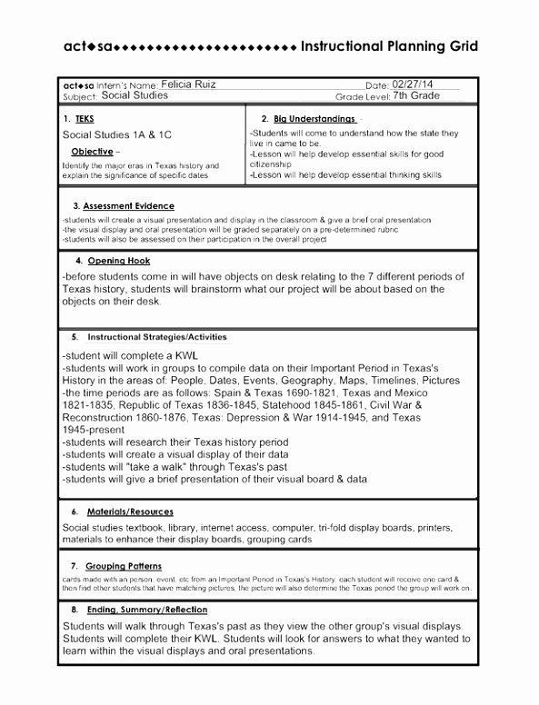 Texas Lesson Plan Template 5e Lesson Plan Template Awesome 10 5e Model Lesson Plan