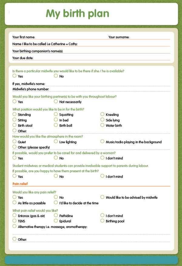 The Bump Birth Plan Template Natural Birth Plan Printable