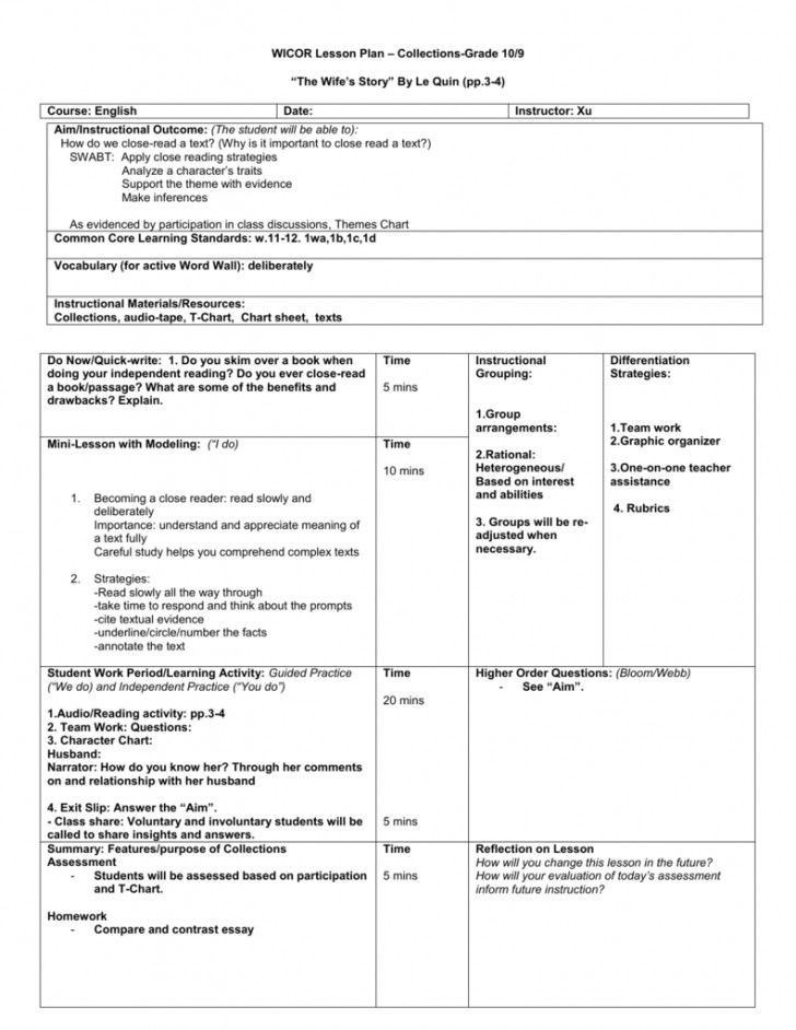 Third Grade Lesson Plan Template Wicor Lesson Plan Template Unique Wicor Lesson Plan Template