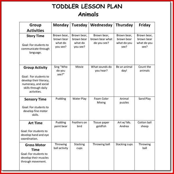 Toddler Lesson Plan Template Creative Curriculum for Preschool Lesson Plan Templates with