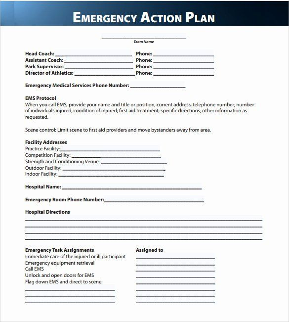 Treatment Plan Template Word Osha Emergency Action Plan Template Lovely Sample Emergency