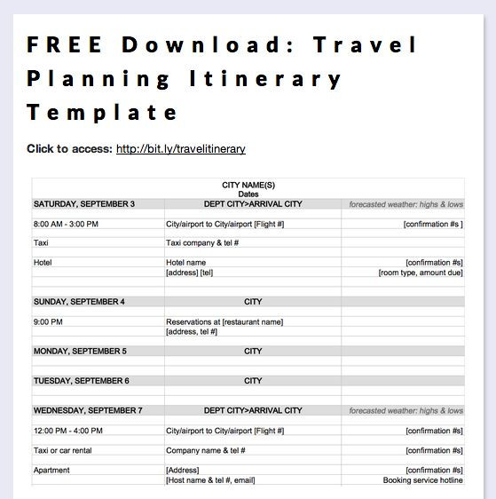 Trip Itinerary Planner Template Free Download Travel Planning Itinerary Template