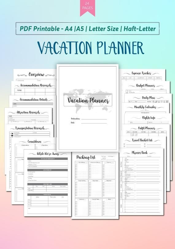 Trip Itinerary Planner Template Vacation Planner Printable Template Travel Planner
