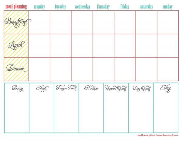 Two Week Meal Plan Template Weekly Menu Plan Free Printable