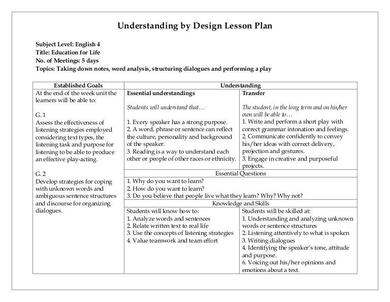 Ubd Lesson Plan Template Understanding by Design Lesson Plan