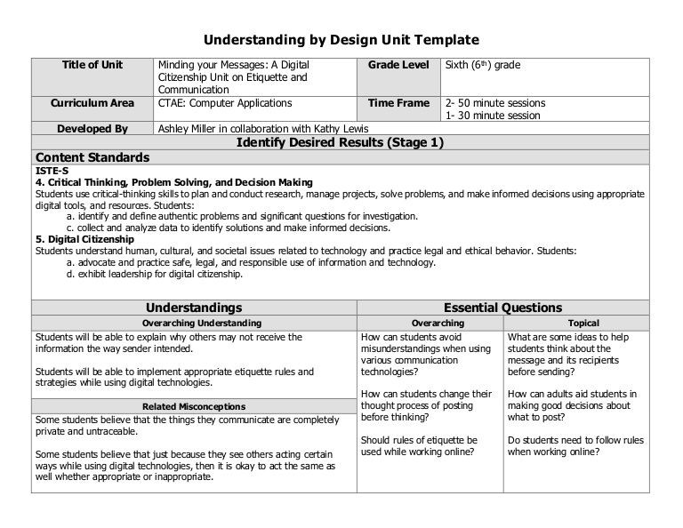 Unit Lesson Plan Template Here is the Lesson Plan that I Came Up with Using the Ubd