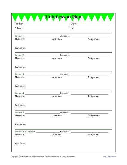 Unit Lesson Plans Template Detailed Unit Lesson Plan Template Elementary Reading