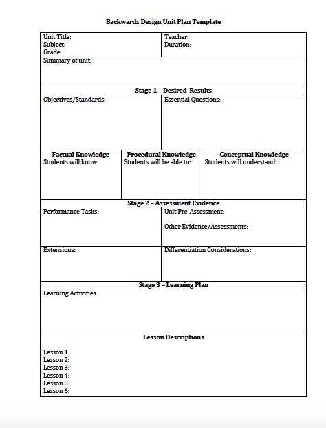 Unit Lesson Plans Template Unit Plan and Lesson Plan Templates for Backwards Planning
