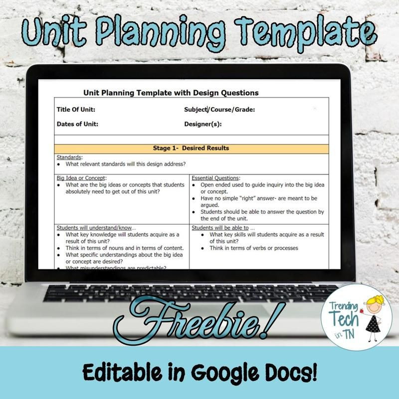 Unit Lesson Plans Template Unit Planning Template Freebie and Editable In Google Docs