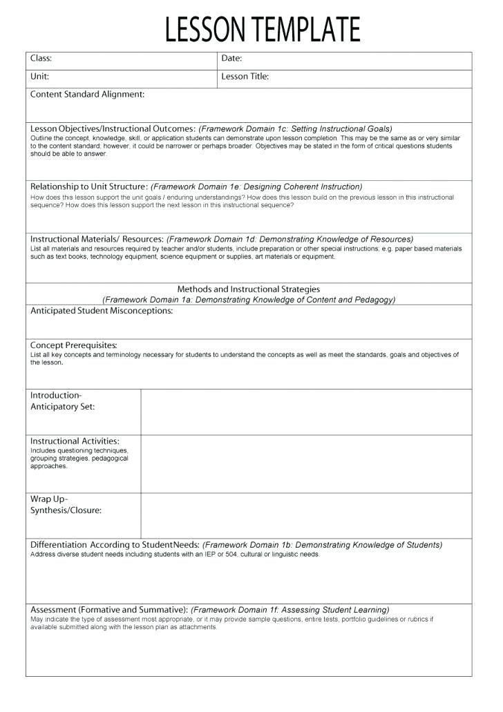 Unit Plan Template Common Core Free Lesson Plan Templates Mon Core School Weekly K