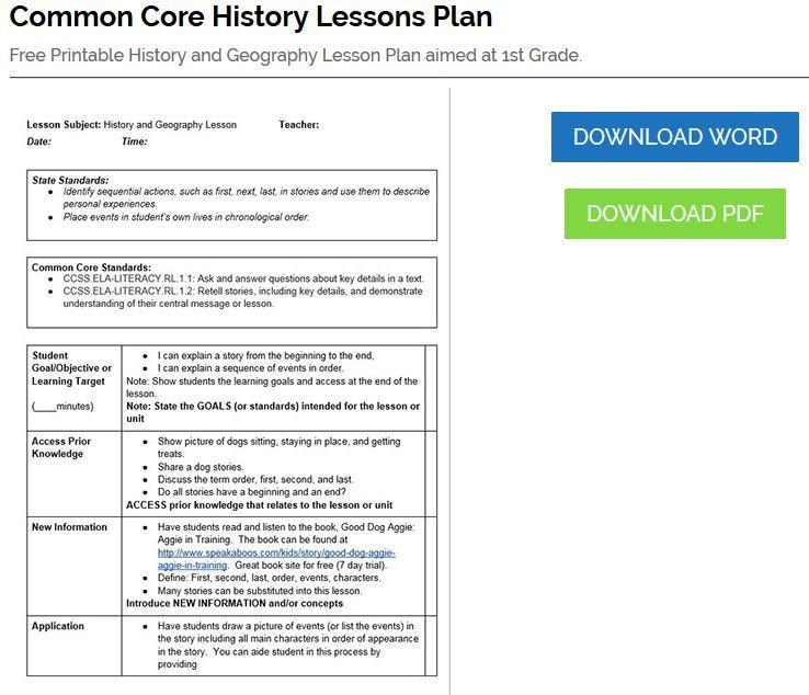 Unit Plan Template Common Core History Lesson Plan