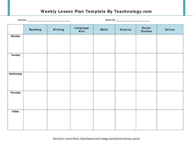 Unit Plan Template for Teachers Blank Lesson Plan Template