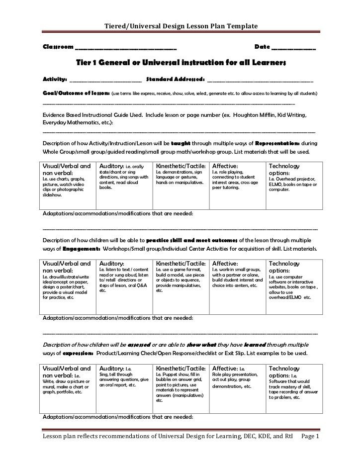 Universal Design Lesson Plan Template Tiered Lesson Plan Template