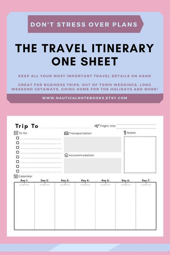 Vacation Planning Template A Place to Keep Your Travel Itinerary Use This Vacation