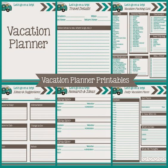 Vacation Planning Template Vacation Planner Printables
