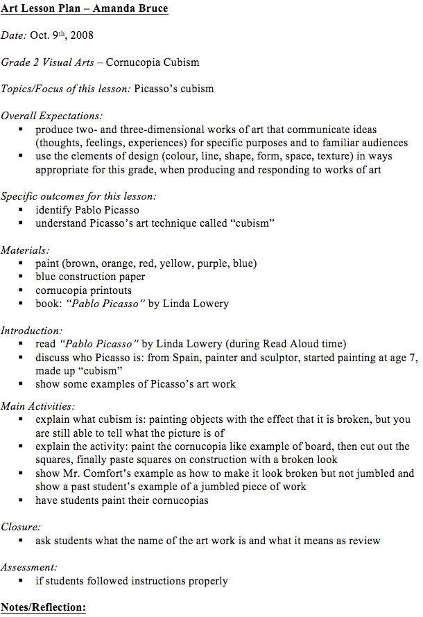 Visual Arts Lesson Plan Template Visual Arts Lesson Plans