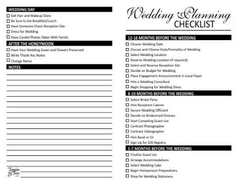 Wedding Planner Checklist Template Bridal Checklist Printable