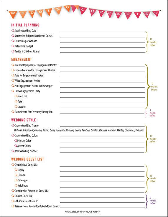 Wedding Planner Checklist Template Wedding Checklist Printable Pdf and Timeline In orange and