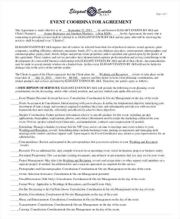 Wedding Planner Contract Template Free 15 Wedding Planner Contract Sample Paystub