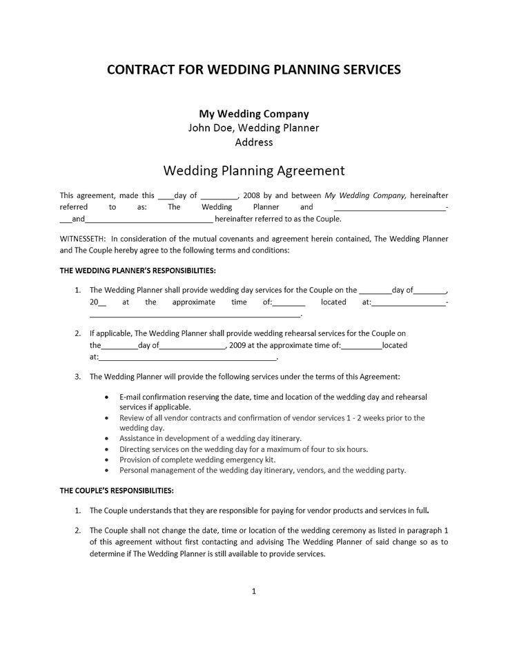 Wedding Planner Contract Template Free Wedding Planner Contract Template Contract