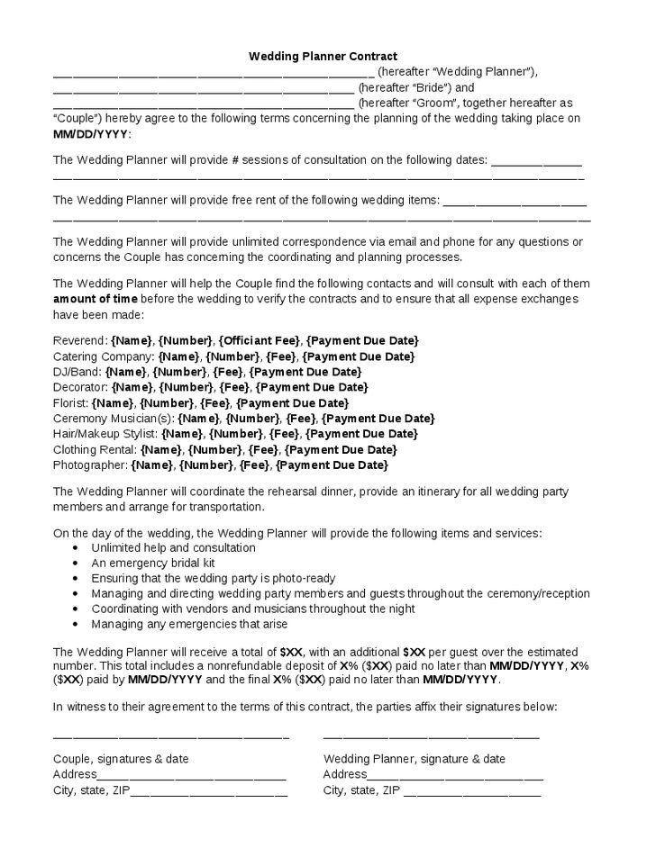 Wedding Planner Contract Template Wedding Coordinator Contract Template Elegant Wedding