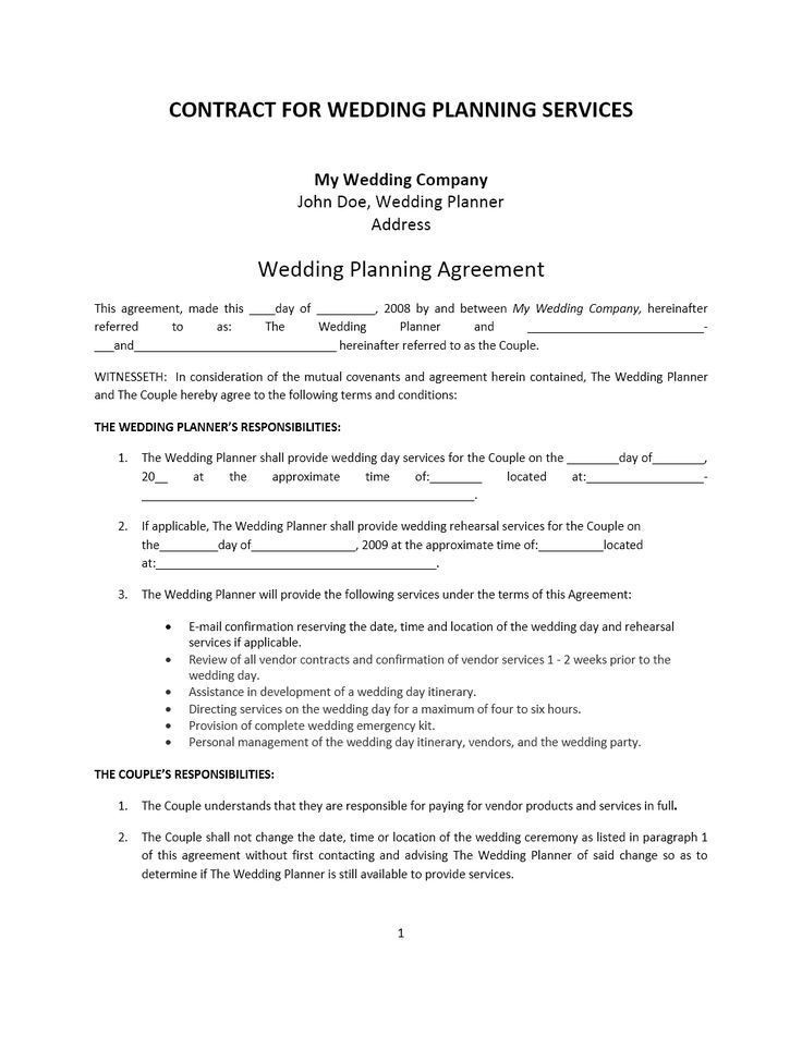Wedding Planner Contract Template Wedding Planner Contract Template Contract