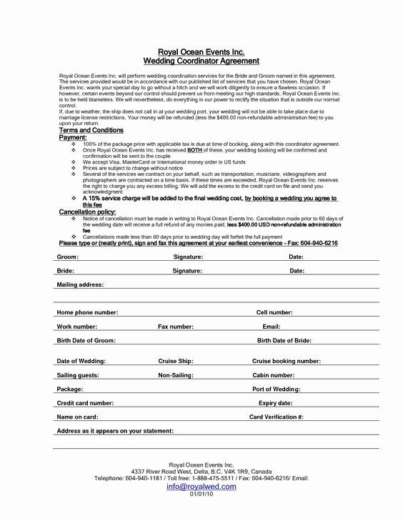 Wedding Planner Contract Template Wedding Planners Contract Template Fresh Pinterest • the